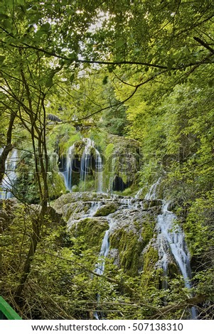 Green forest around Krushuna Waterfalls, near the city of Lovech, Bulgaria