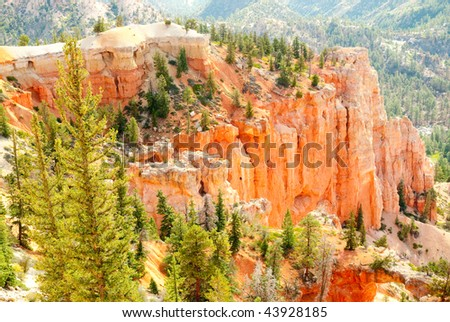 green forest on the edge of orange hoodoo formations - stock photo
