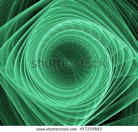 Green fractal abstract fractal art background. Decoration for wallpaper desktop, poster, cover booklet, card. Abstract fractal color texture.An abstract computer generated fractal design.