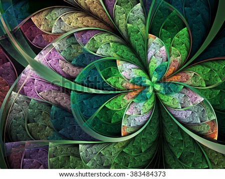 Green fractal butterfly or flower, digital artwork for creative graphic design