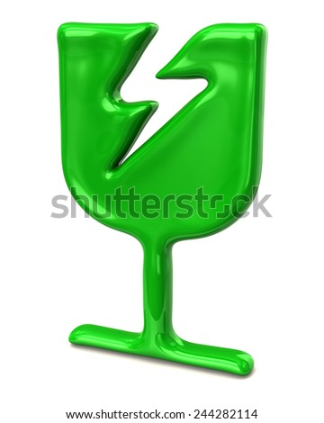 Green fragile icon - stock photo