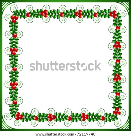 Green frame with leafs and berries on a white background
