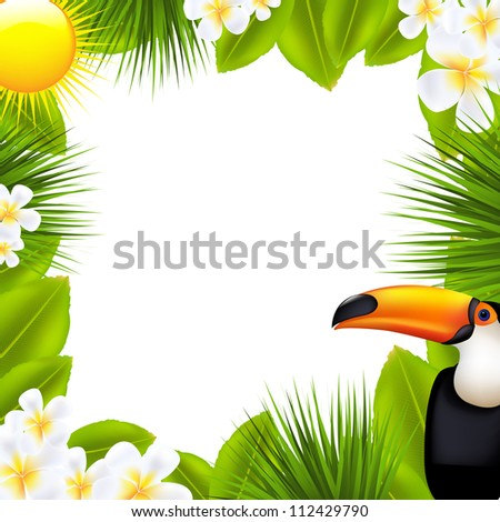 Green Frame With Tropical Elements, Isolated On White Background - stock photo
