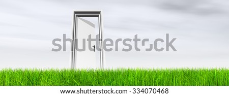 Green, fresh and natural 3d conceptual grass over a blue sky background banner, a opened door at horizon  ideal for religion, home, recreation, faith, business, success, opportunity or future