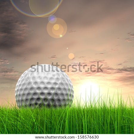 Green, fresh and natural 3d conceptual grass over sunset sky background with  golf ball at horizon, for club,sport,business,recreation,play,game,concept,activity,leisure,competition or fun design - stock photo