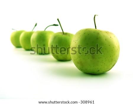 green fresh apples - stock photo