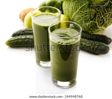 Green fresh healthy juice isolated on white