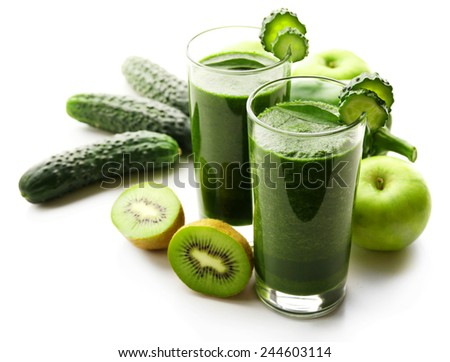 Green fresh healthy juice with fruits and vegetables isolated on white background - stock photo