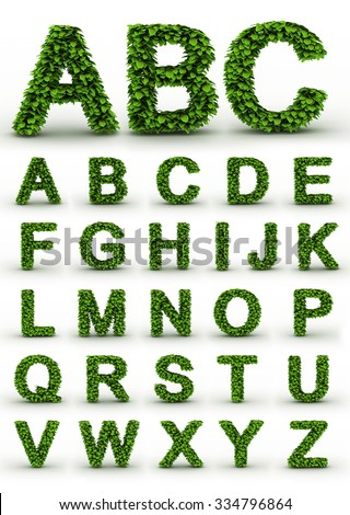 Green Fresh Leaves Ecology Font. Full Alphabet letters set. Biggest version of each letter available in portfolio - stock photo