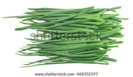 green fresh onion isolated on white background