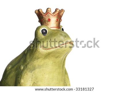 Green frog wearing a golden crown isolated over white.