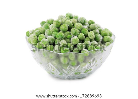 Green frozen peas. In a glass dish