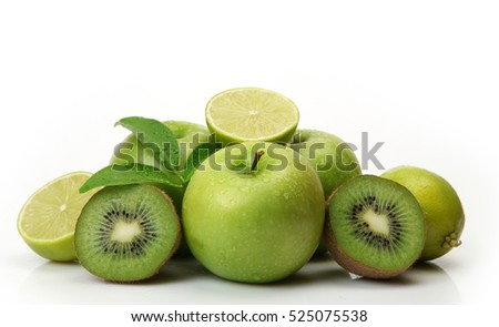 green fruit on white background
