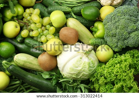 Green fruits and vegetables background - stock photo