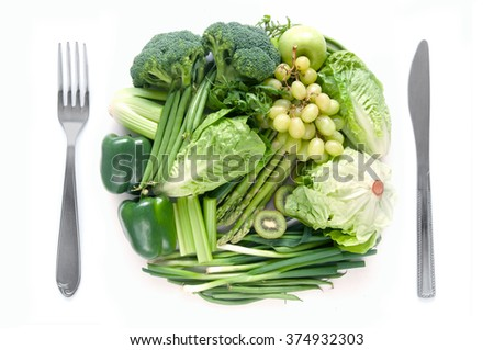 Green fruits and vegetables healthy diet concept
