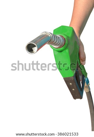 Green Fuel nozzle Car Gas Tank - Fueling Theme. Closeup Photo Collection isolated on white background. This has clipping path.