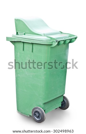 Green garbage bin isolated on white