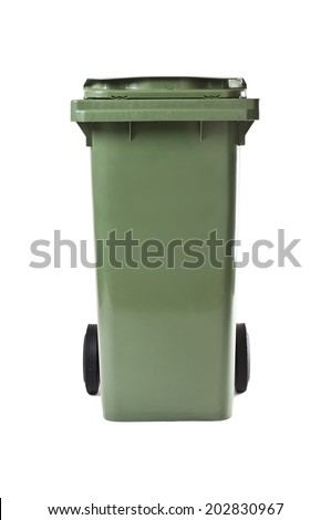 green garbage bin isolated on white studio shot