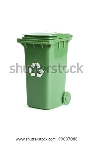 Green garbage, trash bin isolated on white background - stock photo