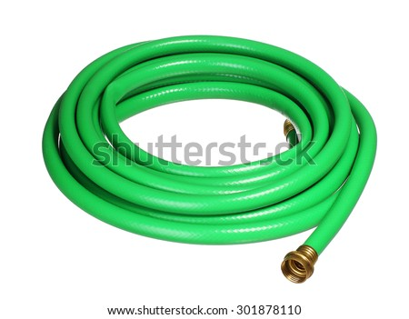 green garden hosepipe isolated on white background - stock photo