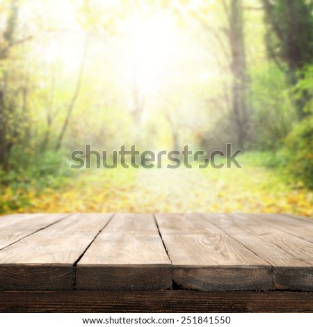 green garden landscape and sunny day with your free space on table  - stock photo