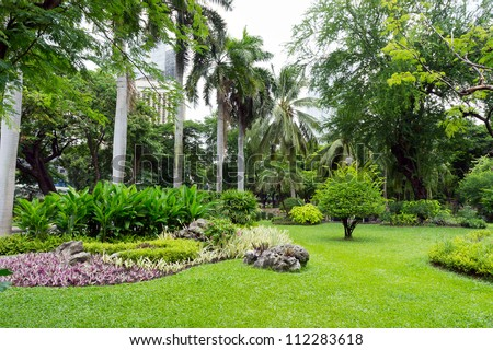 Green garden view - stock photo