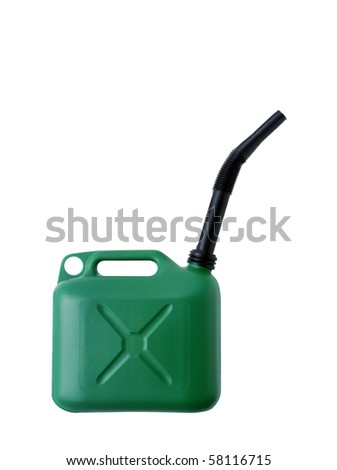 Green Gas Can on White Background