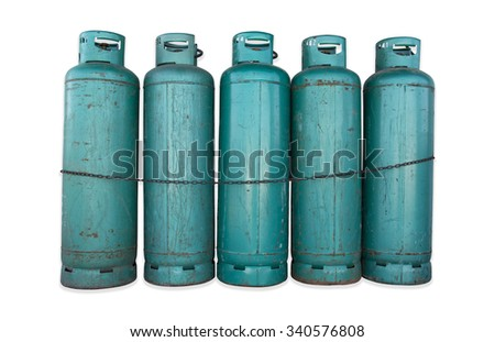 Green gas tanks and chain on isolated background. - stock photo