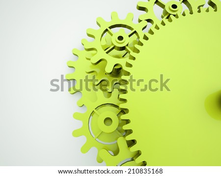 Green gears concept rendered  - stock photo