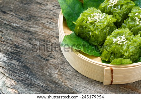 Green gelatinous rice, Thailand dessert - stock photo