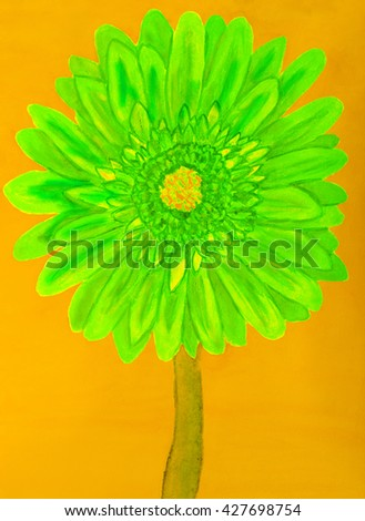 Green gerbera flower on yellow background, painting in watercolours - stock photo
