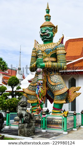GREEN GIANT STATUE IN WAT ARUN (TEMPLE OF DAWN) BANGKOK,THAILAND.