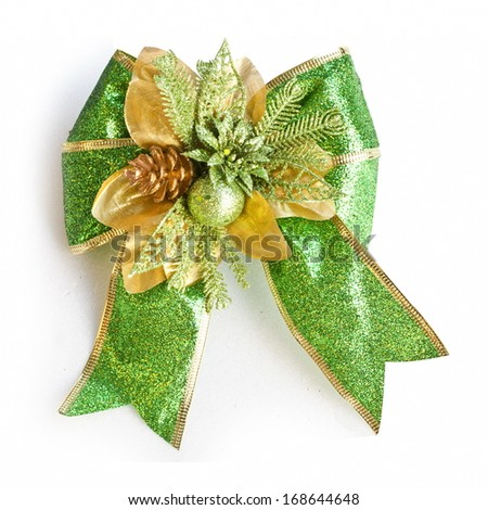 Green Gift Bow Isolated on White  - stock photo