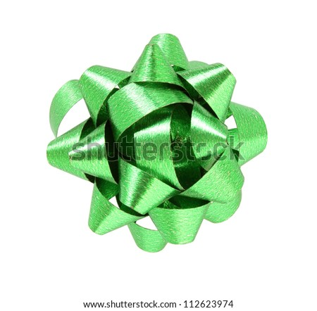 green gift bow isolated on white background with clipping path - stock photo