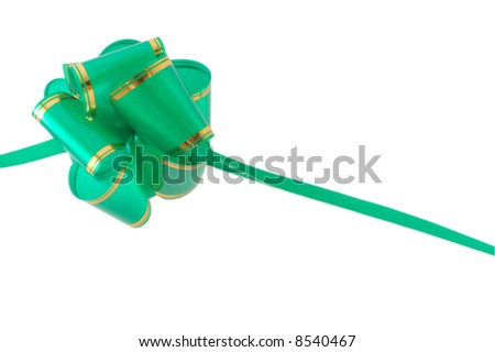 green gift bow, isolated on white, clipping path included