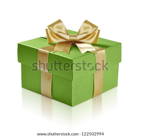 Green gift box with gold ribbon over white background. Clipping path included - stock photo