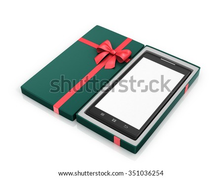 Green Gift Box with red ribbon and smartphone inside. - stock photo