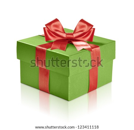 Green gift box with red ribbon over white background. Clipping path included. - stock photo