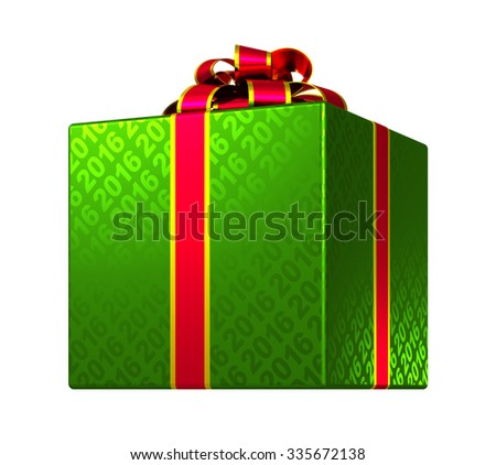 Green Gift Box With Ribbon And Bow. 3D Model. - stock photo