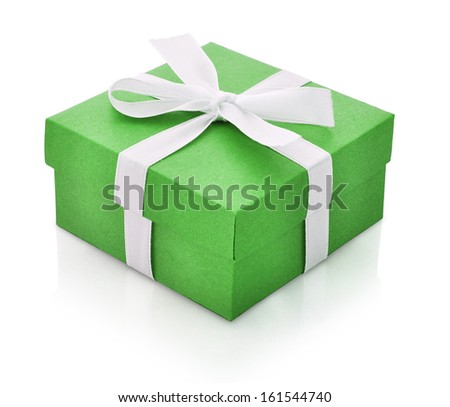 Green gift box with white ribbon isolated on white background. Clipping path included. - stock photo