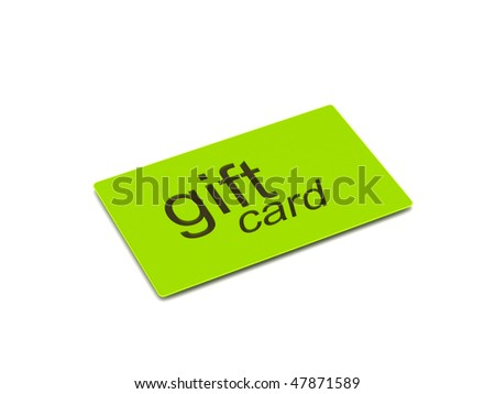 Green gift card isolated on white background. High quality 3d render. - stock photo