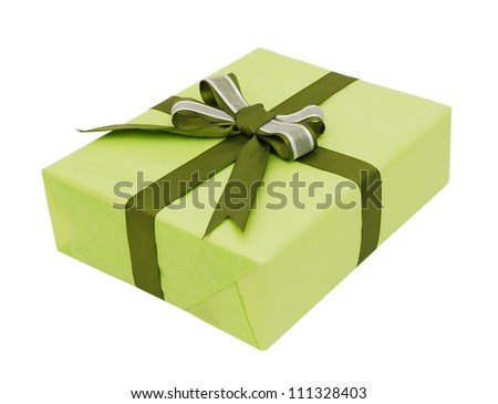 Green gift with bow isolated on white