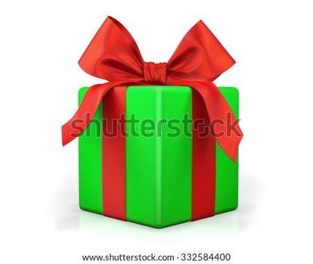 green gift with red ribbon on white background - stock photo