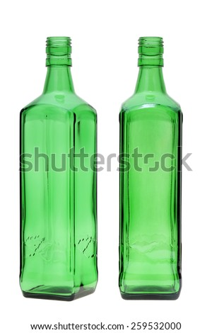 green glass bottle isolated on white background  - stock photo
