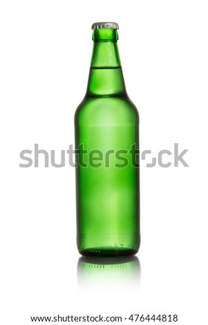 Green glass bottle isolated on white background
