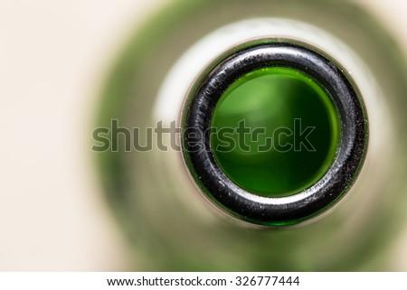 green glass bottle neck. close - stock photo
