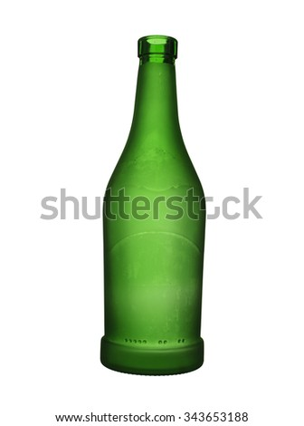 Green glass bottle of wine isolated on a white background.