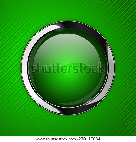 Green glass button on green abstract background, web icon with metallic frame. Raster version - stock photo