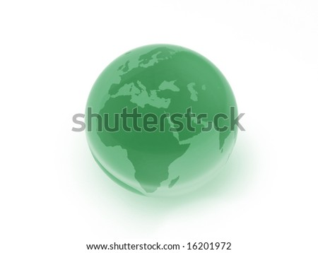 Green glass globe, Europe, Middle East & Africa