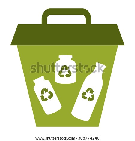 Green Glass Recycle Bin Infographics Flat Icon, Sign Isolated on White Background - stock photo